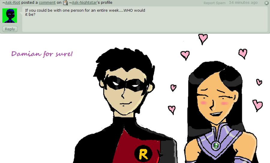 Damian Wayne And Nightstar Answer 10 by Ask-Nightstar