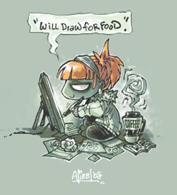 Will draw for food. by RenieDraws