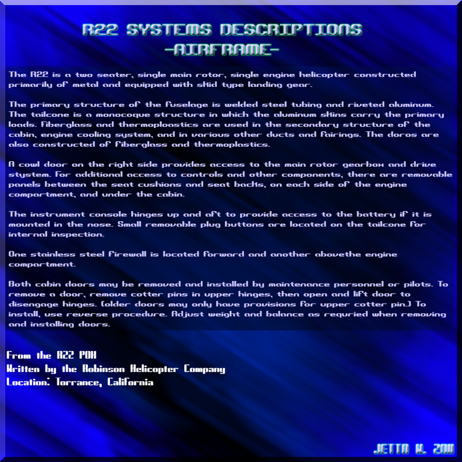 R22 - Airframe Info Sheet by Jetta-Windstar