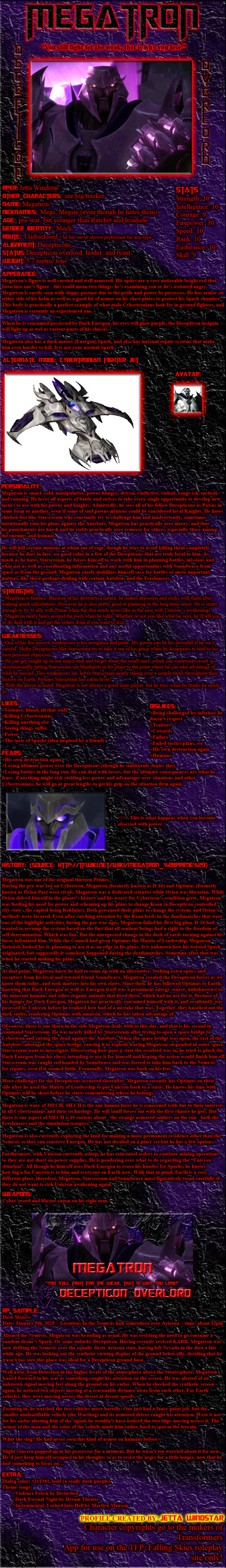 Megatron: TFP Falling Skies Profile by Jetta-Windstar
