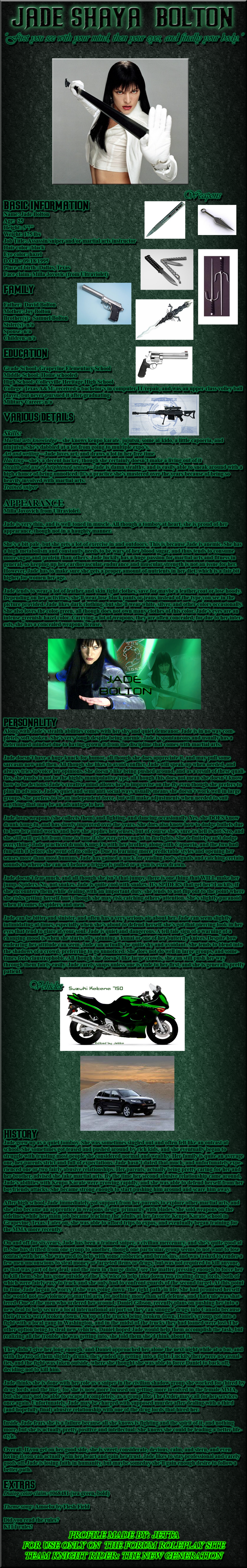 Jade  Bolton bio: TKR version by Jetta-Windstar