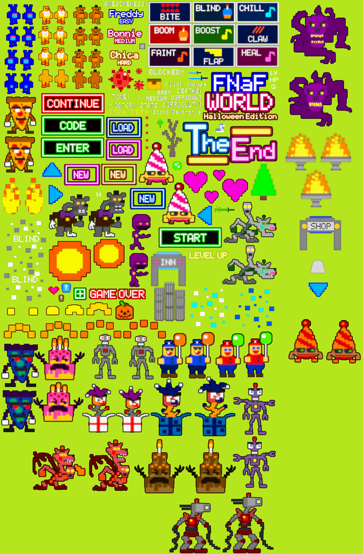 Fnaf World Halloween Edition Sprites by gabriel444 on DeviantArt