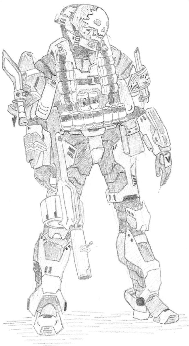 Halo 4 Spartan Ops Coloring Page Reach Emile Pages Sketch