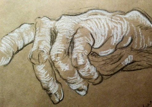 Chalk and charcoal hand