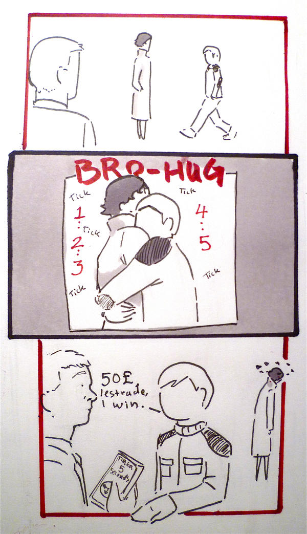 BBC Sherlock comic: Bro-Hug,the 5 second challenge by Graphitekind