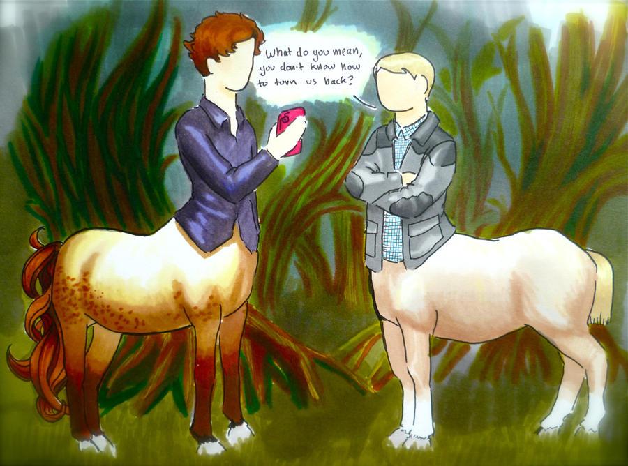 BBC Sherlock comic: centaurs by Graphitekind