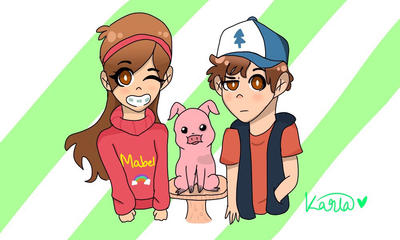 The Pine Twins (Gravity Falls) by KarlaArts