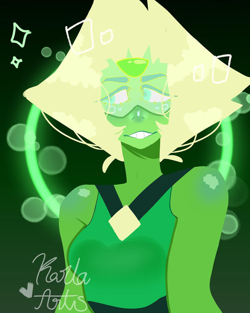 I've been practicing some line less art and my friend suggested I do fan art of Peridot from Steven Universe and I think she is just the cutest thing ever!