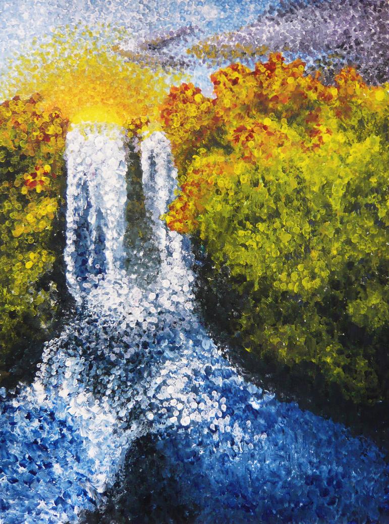 +A2+ Pointalism - Waterfall by Kida-Ookami