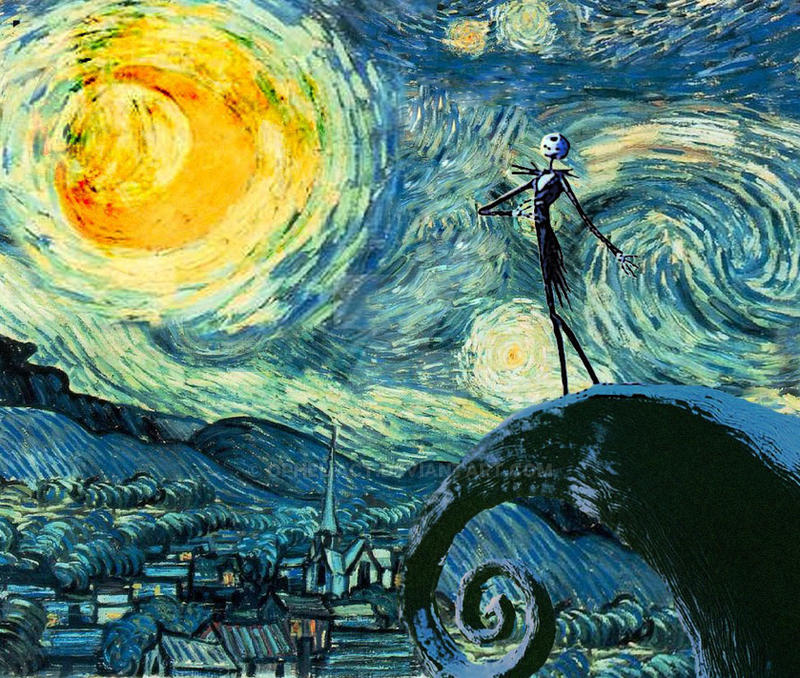 skellington on a starry night by opheliact