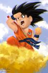 Kid Goku and His Flying Nimbus!