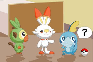 Pokemon 8 generation Grookey Scorbunny and Sobble by Darlaltonthebearcat