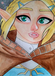 Zelda - Breath of the Wild 2 Watercolor Painting by Saphir-And-Rose
