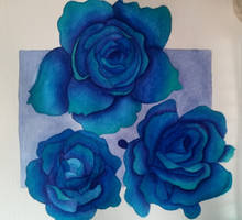Blue Roses - Watercolor Painting by Saphir-And-Rose