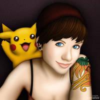 Tamara and Pikachu by apathae