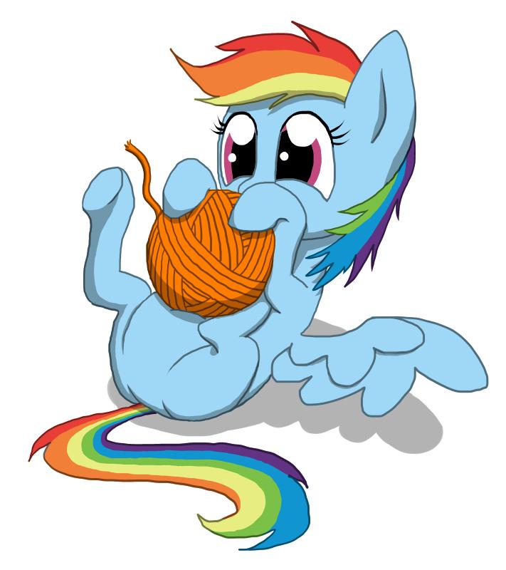 Filly Rainbow Dash versus yarn ball by Kreggur