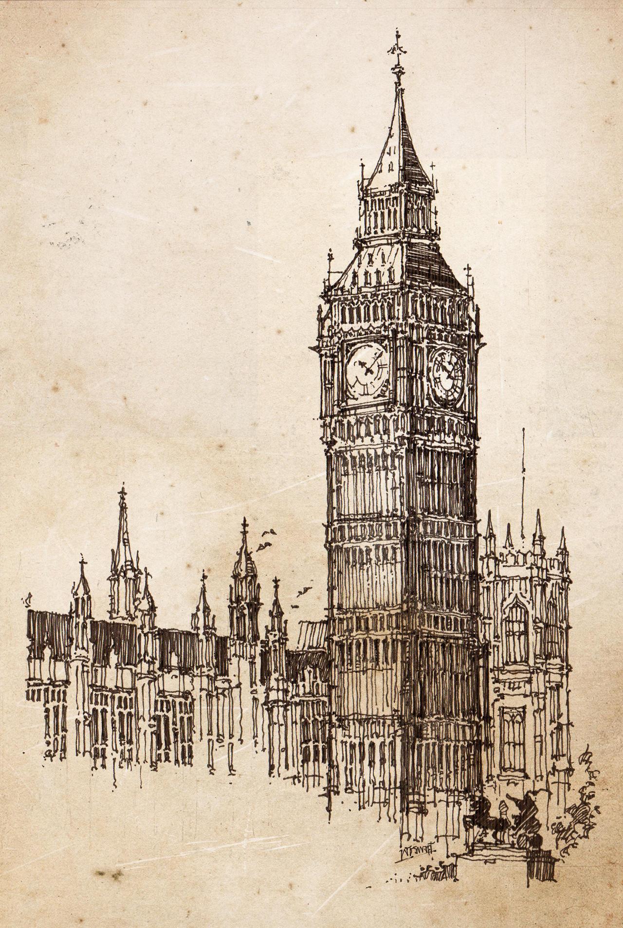 big ben wallpaper drawing - photo #2
