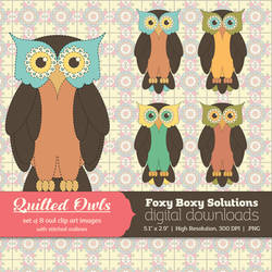Quilted Owls Clip Art Set of 8 Colorful Owls