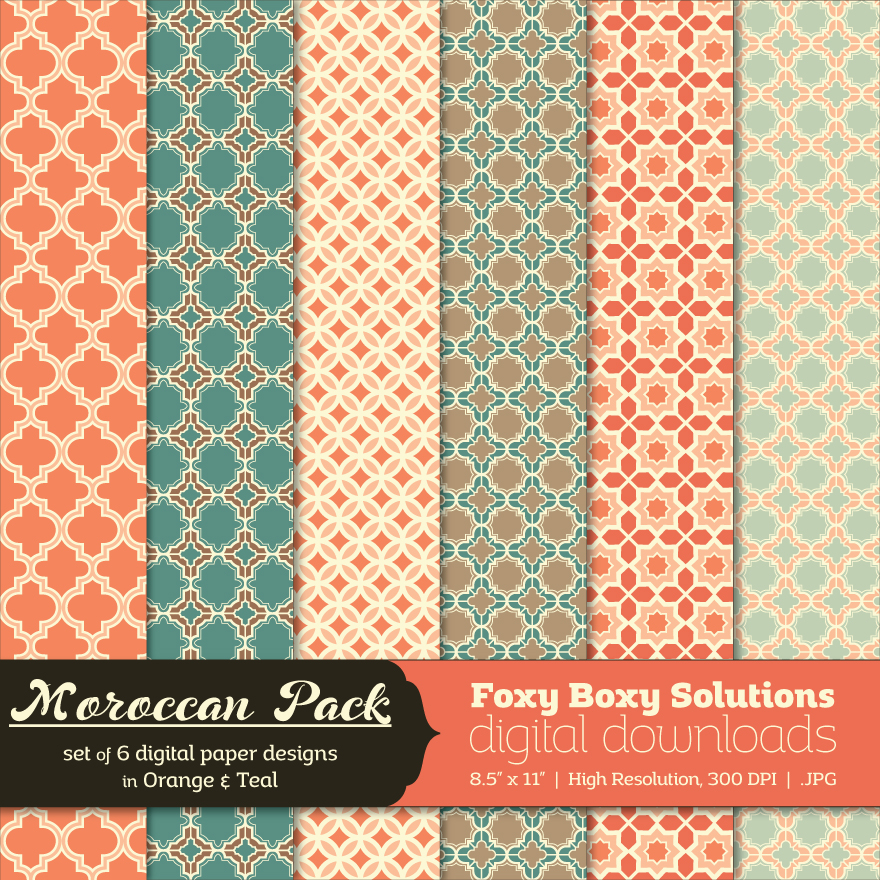 Moroccan Pattern Digital Papers - Teal and Orange
