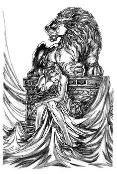 Lion and lonely lady