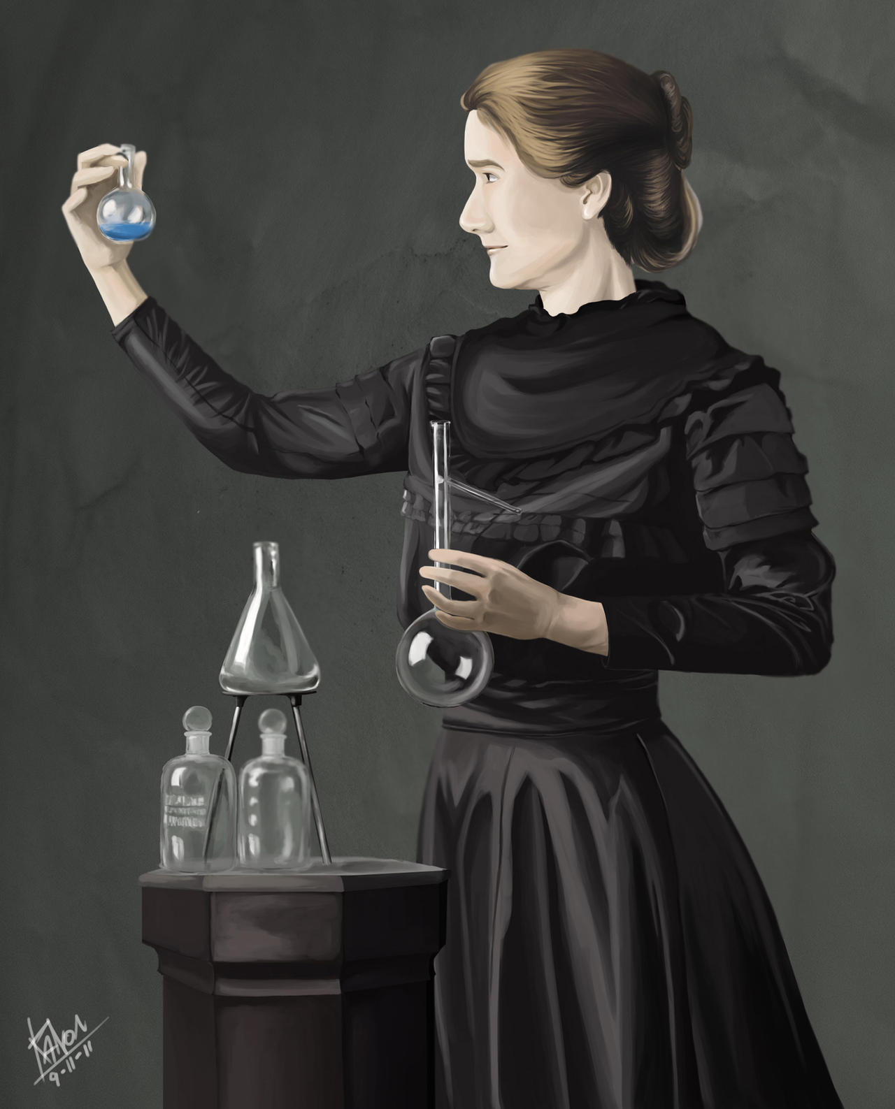 This is a graphic of Inventive Marie Curie Drawing