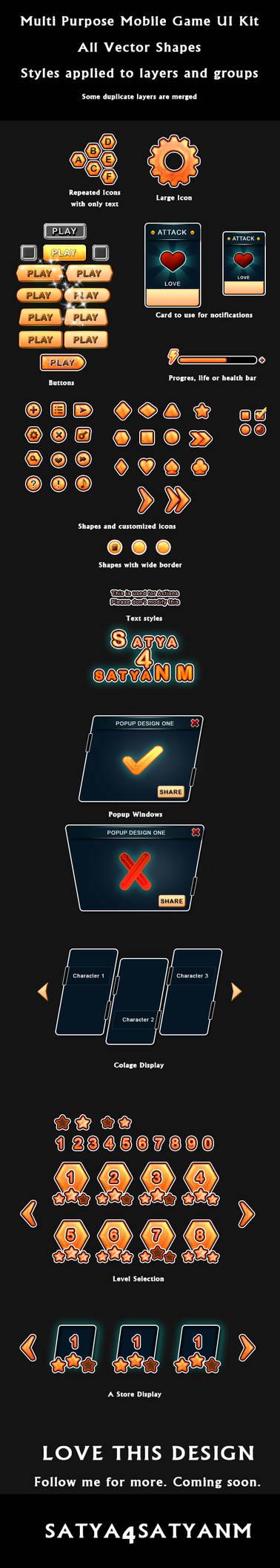 Multi purpose Mobile game UI kit by satya4satyanm on DeviantArt