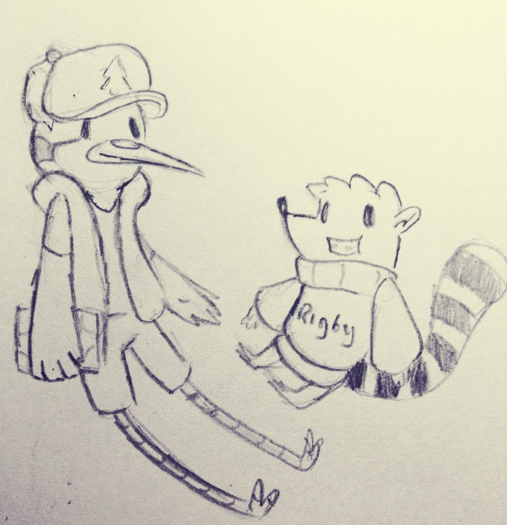 Mordecai and Rigby as Dipper and Mabel by Peachdalooza