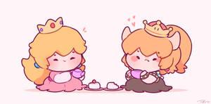 bowsette and peach by Peachdalooza