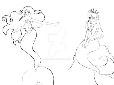 Mermaid Coloring Pages 1 by The-Honey-Bea