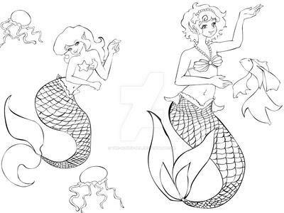 Mermaids Coloring page 2 by The-Honey-Bea