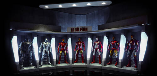 IRON MAN: Hall of Armor - Tony Stark's Garage by FordGT