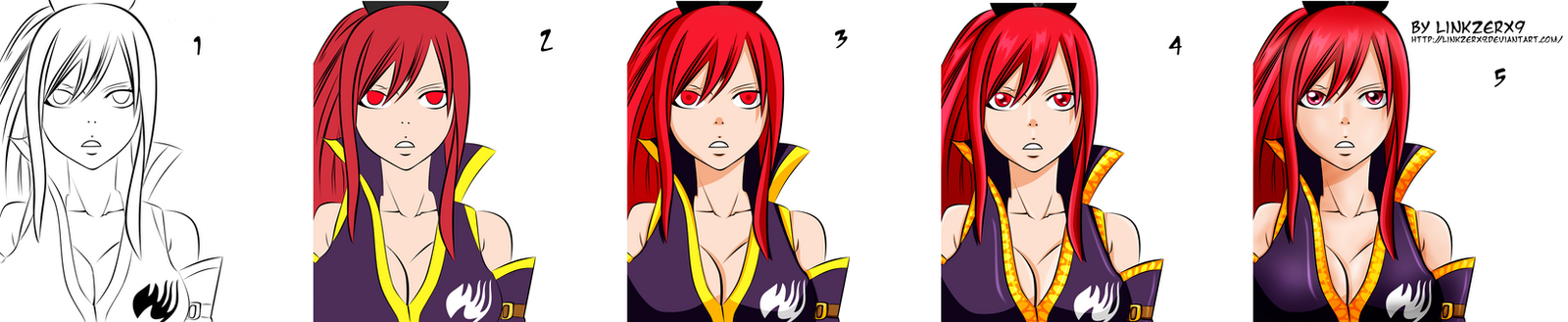 Secuencia de Coloreo Erza Color by linkzerx9