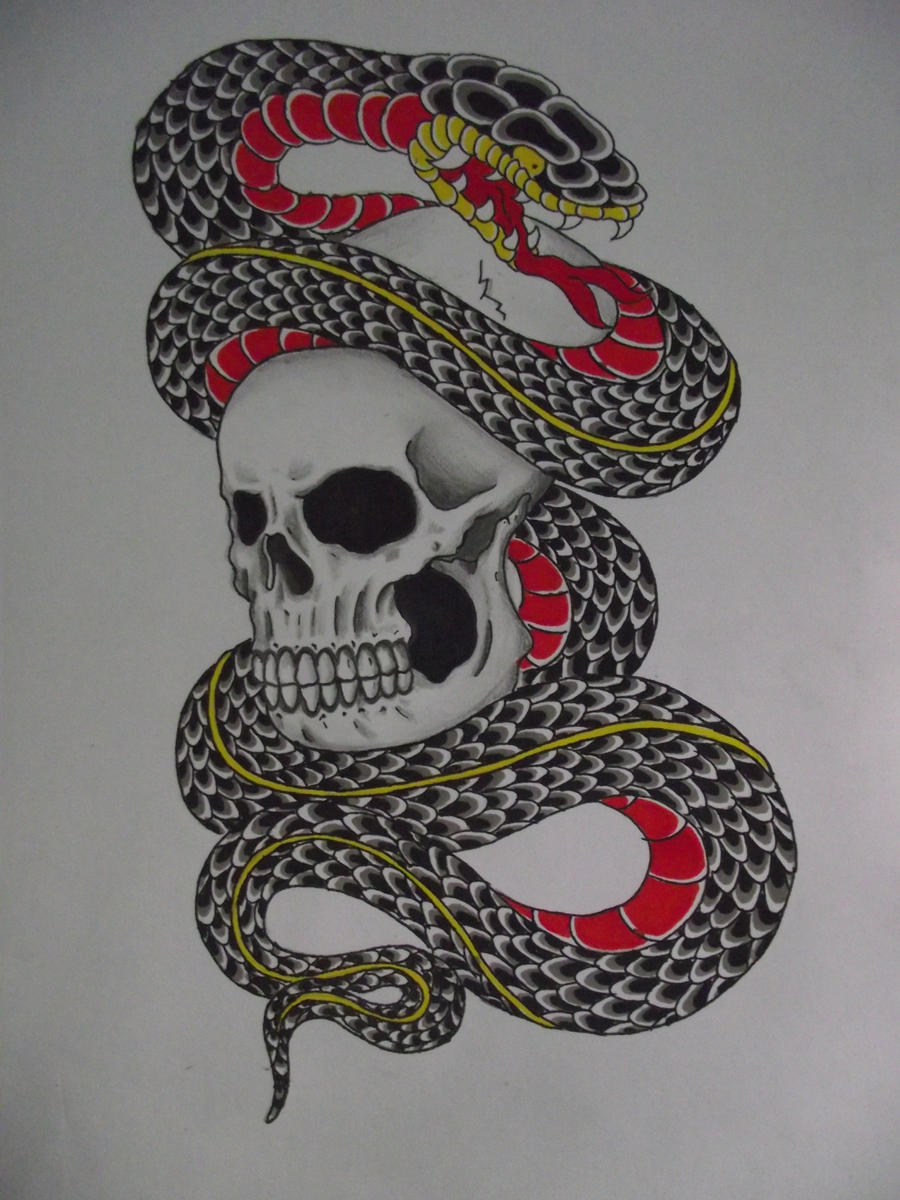 Snake and skull by cut throat jake on deviantart for Cut throat tattoo
