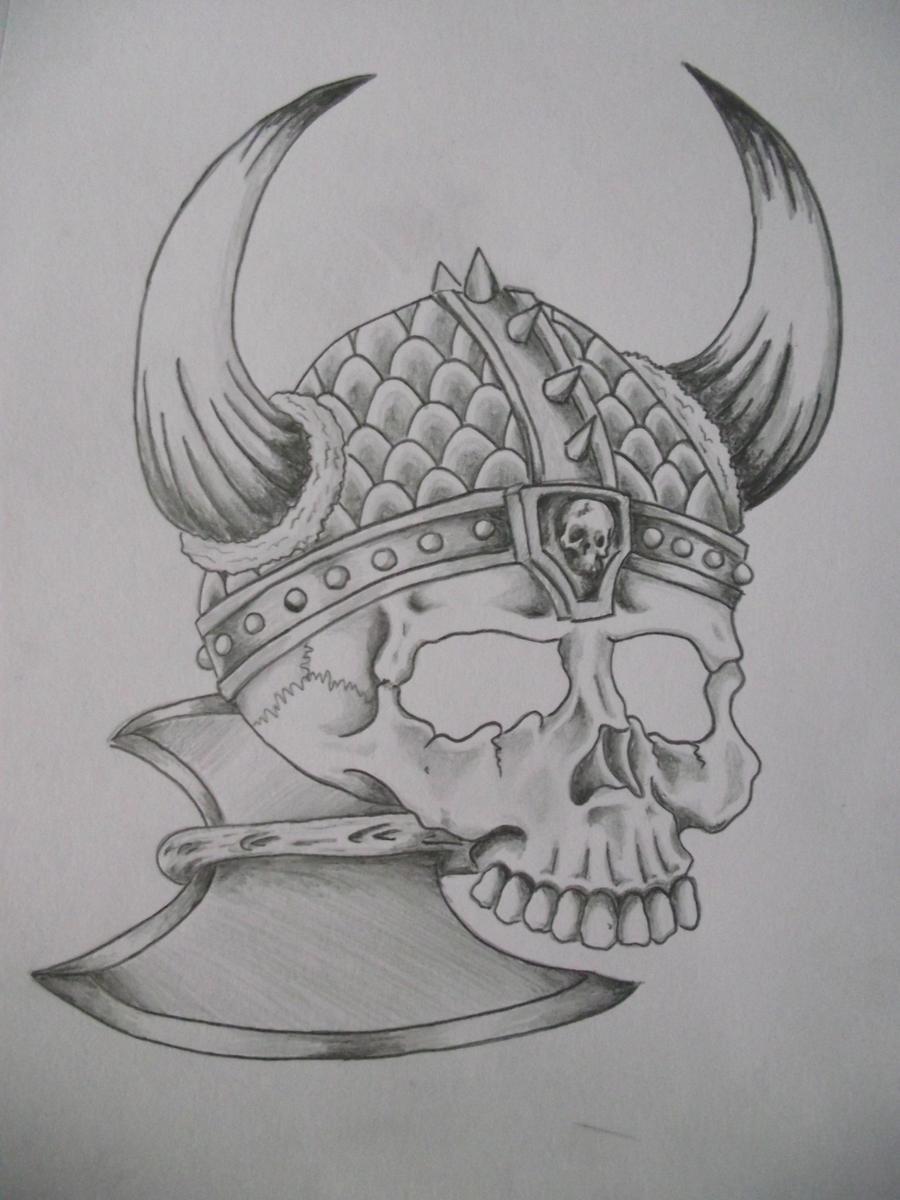 viking skull by cut throat jake on deviantart. Black Bedroom Furniture Sets. Home Design Ideas