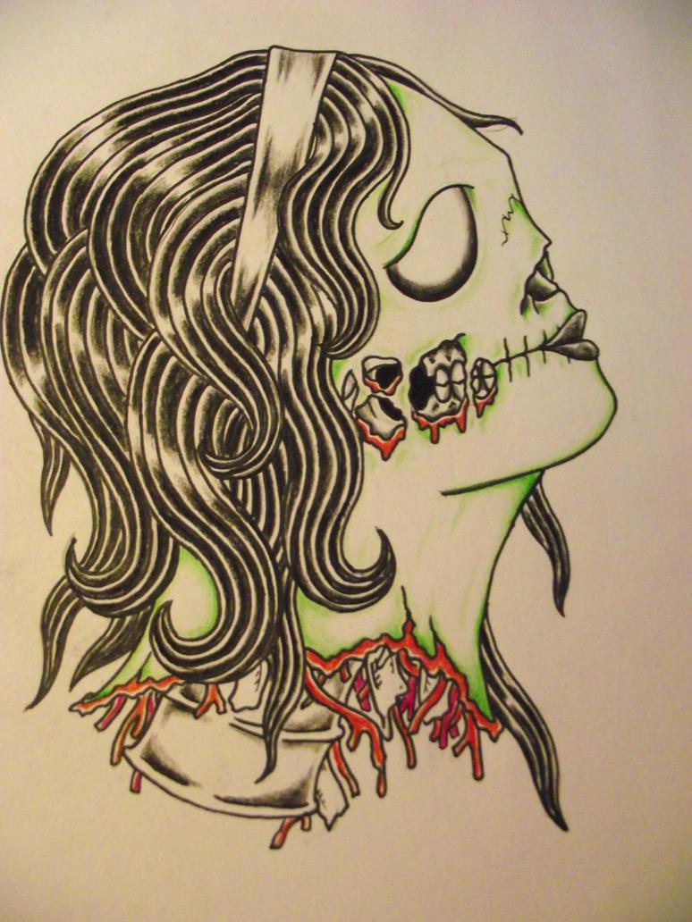 Zombie gypsy head by cut throat jake on deviantart for Cut throat tattoo