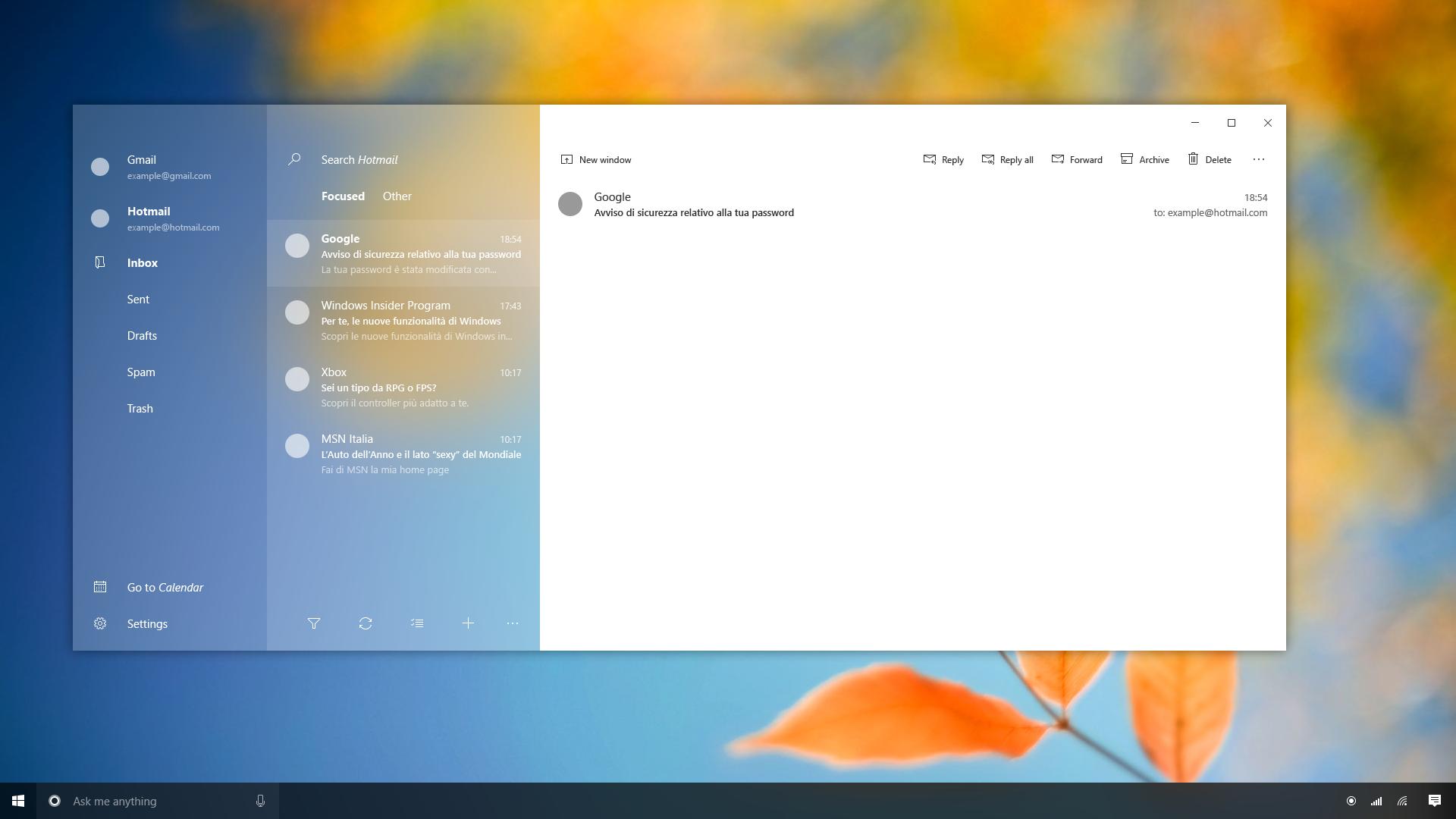 Mail App - Windows 10 Project Neon Concept