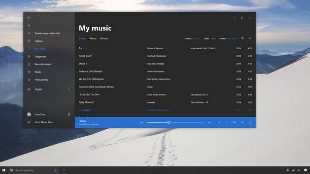 Groove Music - W10 Project Neon Concept