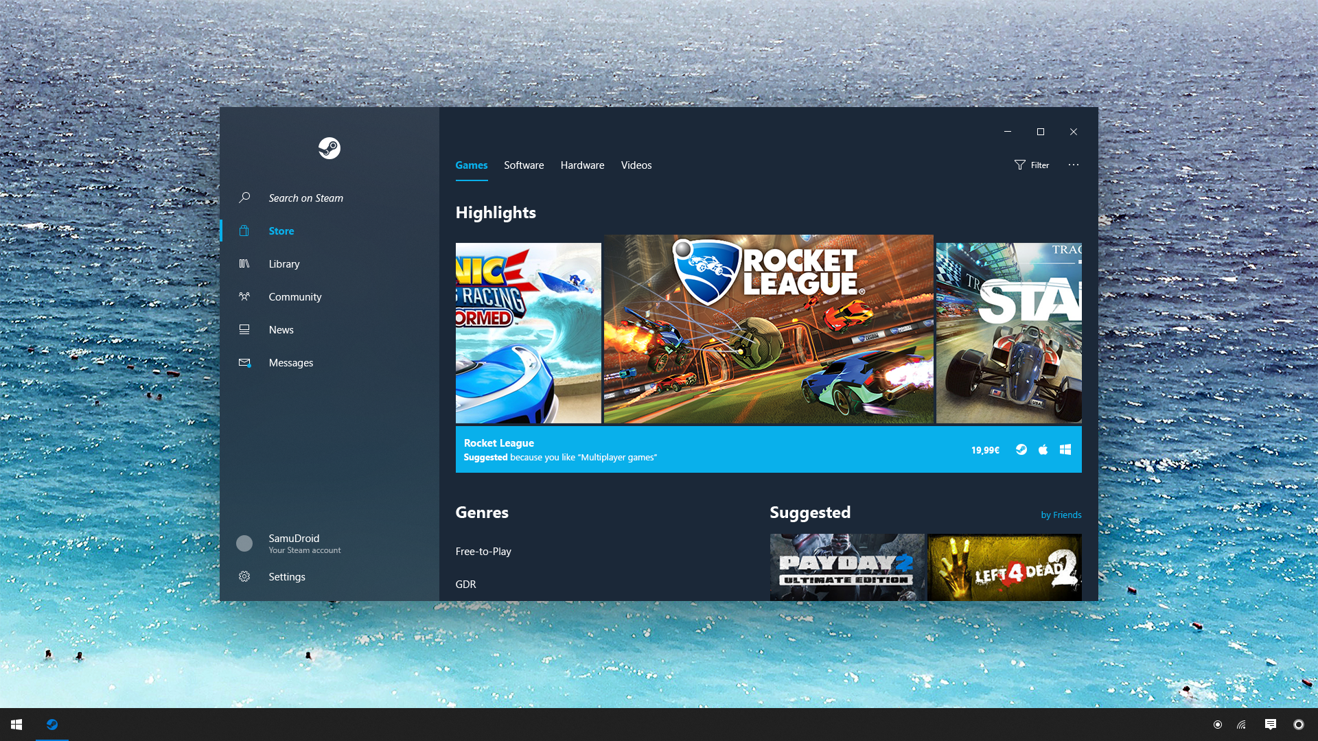 Steam - Windows 10 Fluent Design System Concept by SamuDroid