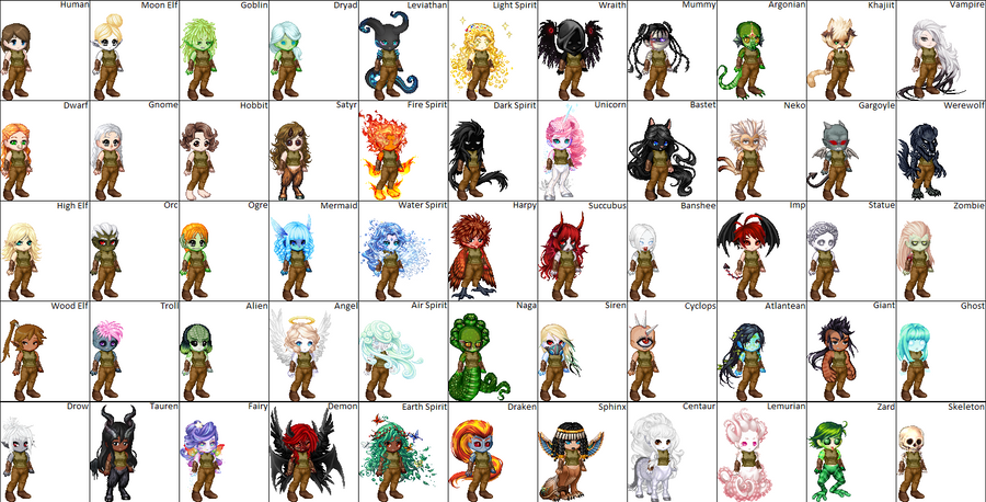 55 Character Races by calcol28 on DeviantArt