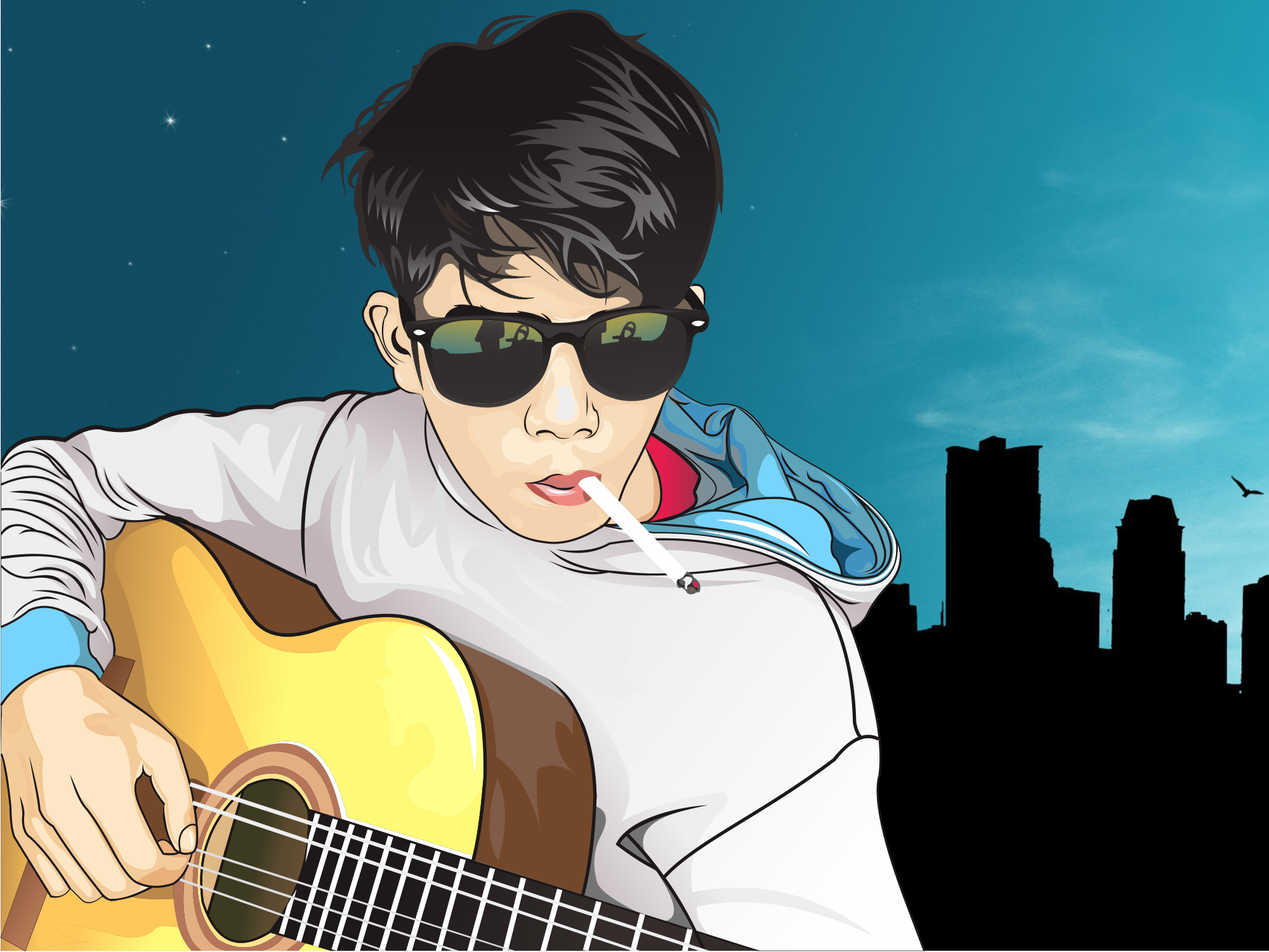 Vector Cartoon boy with Guitar by MakiiBAO on DeviantArt