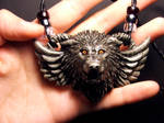 Guardian Wolf pendant in Gray