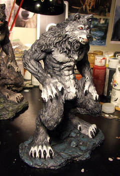 Gray red eyed werewolf commission