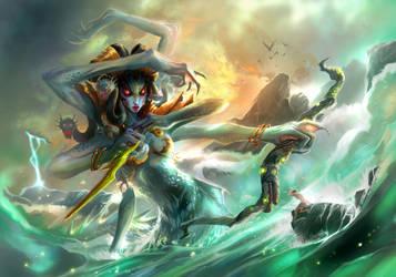 lady of ocean:vashj by breath-art