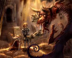 training to slay  a dragon by breath-art