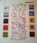 Game of Thrones: Map of Westeros with house sigils