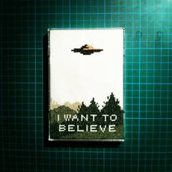 X Files cross stitch - I Want To Believe poster