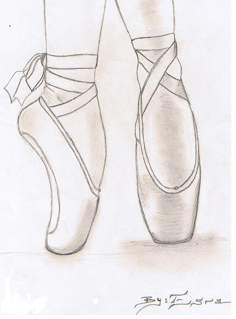 ballet shoes drawing easy - photo #2