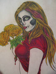day of the dead pinup WIP by decrativesoul
