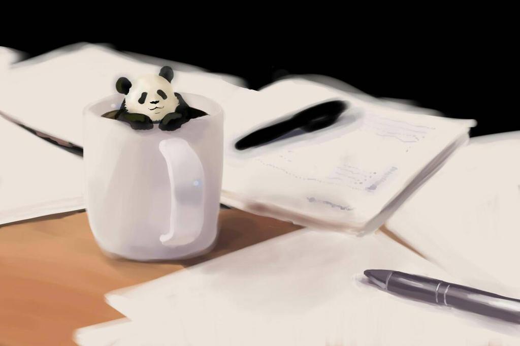 Panda-kun in coffee by cassileen