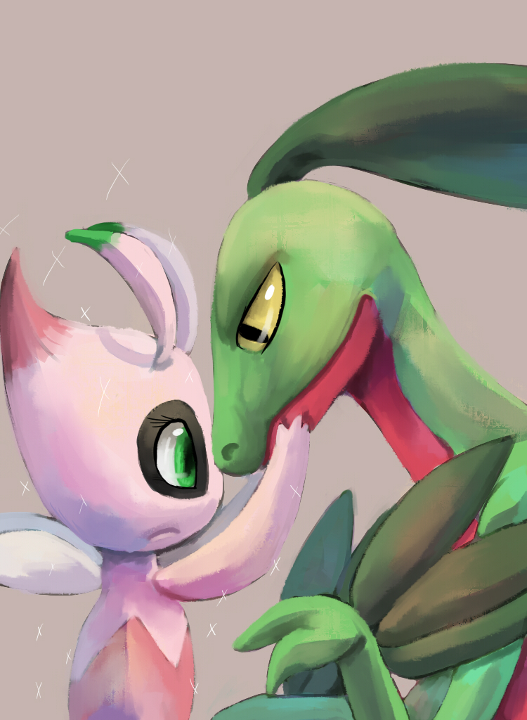 grovyle and celebi by breadcrumbz on deviantart